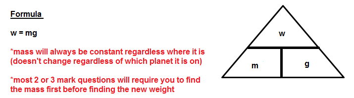 Impt: Gravitational field strength on Earth will always be given as 10 m/s2 or 10 N/kg.
